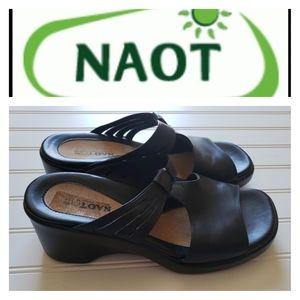 NAOT Black leather slides